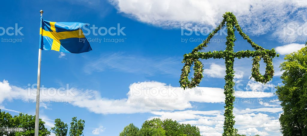 Midsummer traditional Swedish symbols stok fotoğrafı