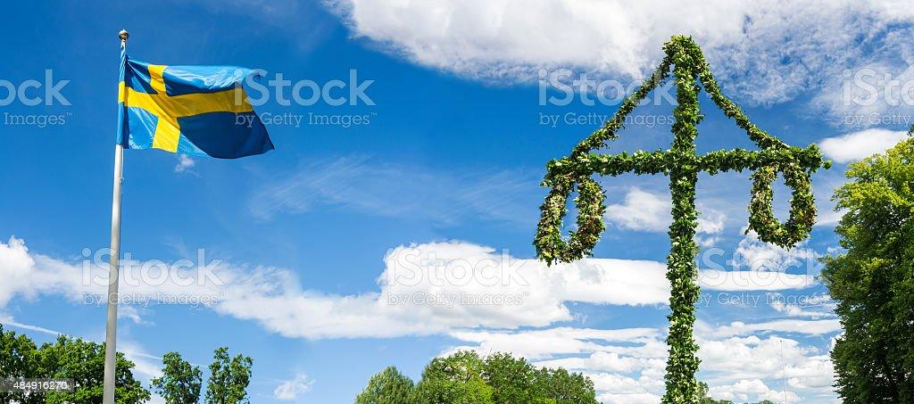 Midsummer traditional Swedish symbols stock photo