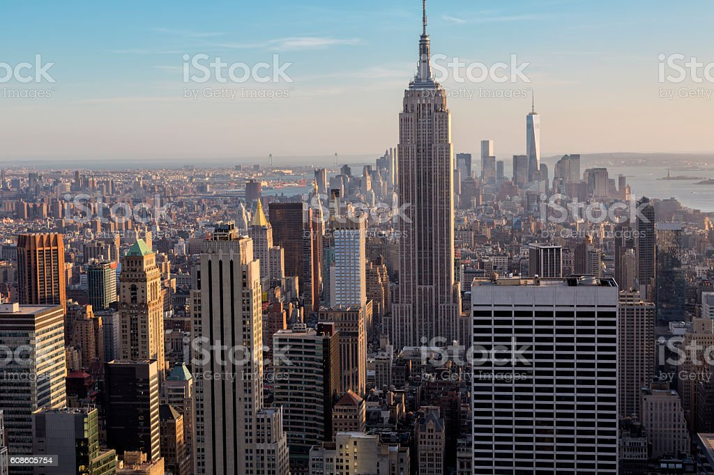 Midtown and Lower Manhattan Skyline, New York, USA stock photo
