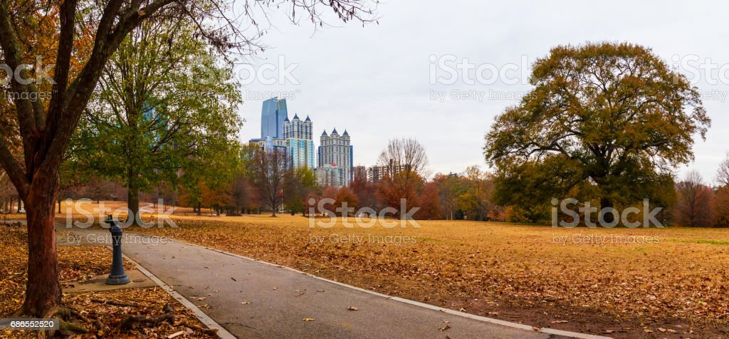 Midtown Atlanta and Oak Hill in Piedmont Park, USA zbiór zdjęć royalty-free