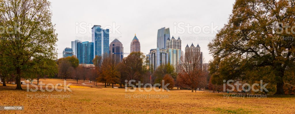 Midtown Atlanta and Oak Hill in Piedmont Park, USA royalty-free stock photo