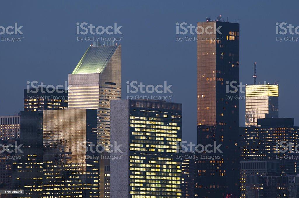 Midtown buildings night royalty-free stock photo