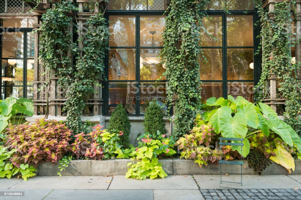 NYC Midtown Lush Exterior of NY Public Library Bryant Park stock photo