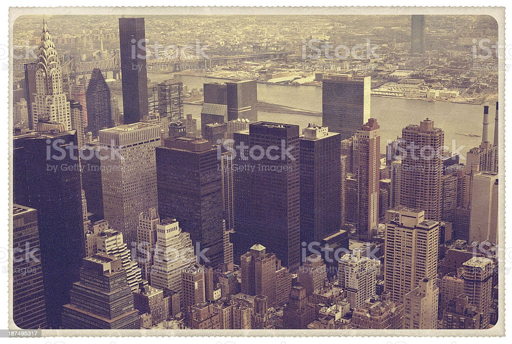 Midtown Manhattan Aerial View - Vintage Postcard stock photo