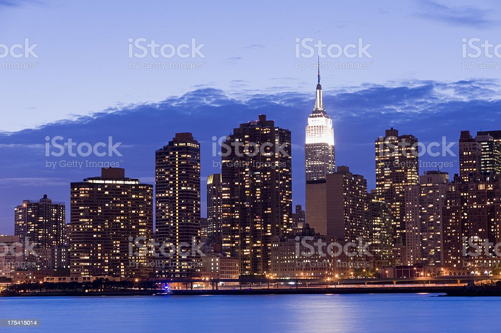 Midtown Manhattan City Skyline at Night New York USA stock photo