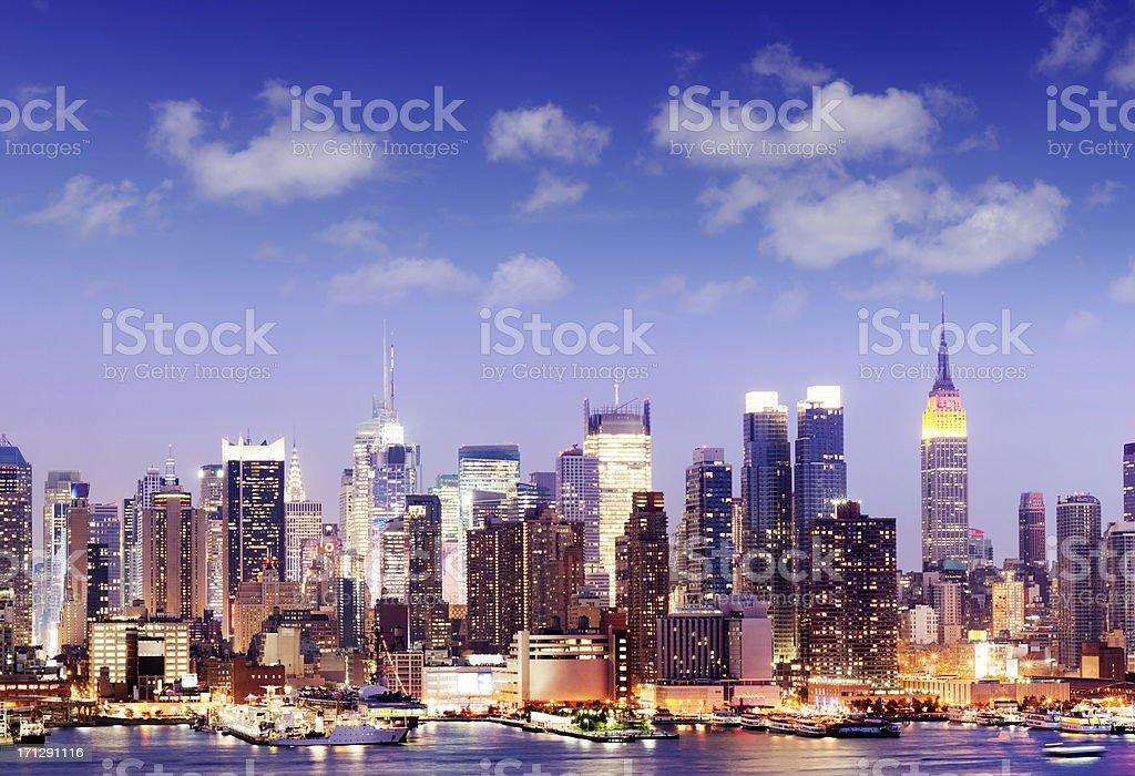 Midtown Manhattan City Skyline in New York USA royalty-free stock photo