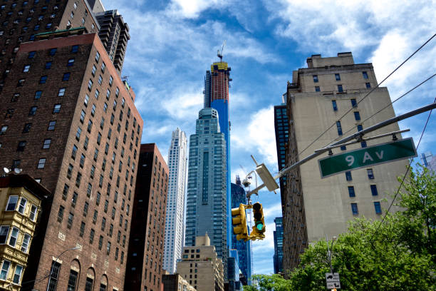 Midtown Manhattan Cityscape, New and Older Buildings, Skyscrapers, NYC, USA stock photo