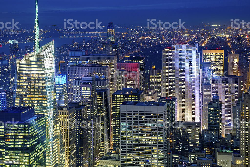 Midtown Manhattan from Above at Night royalty-free stock photo