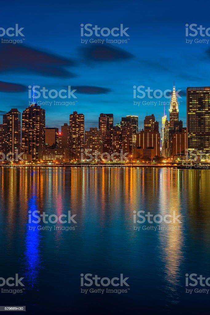 Midtown Manhattan NYC at nightfall stock photo