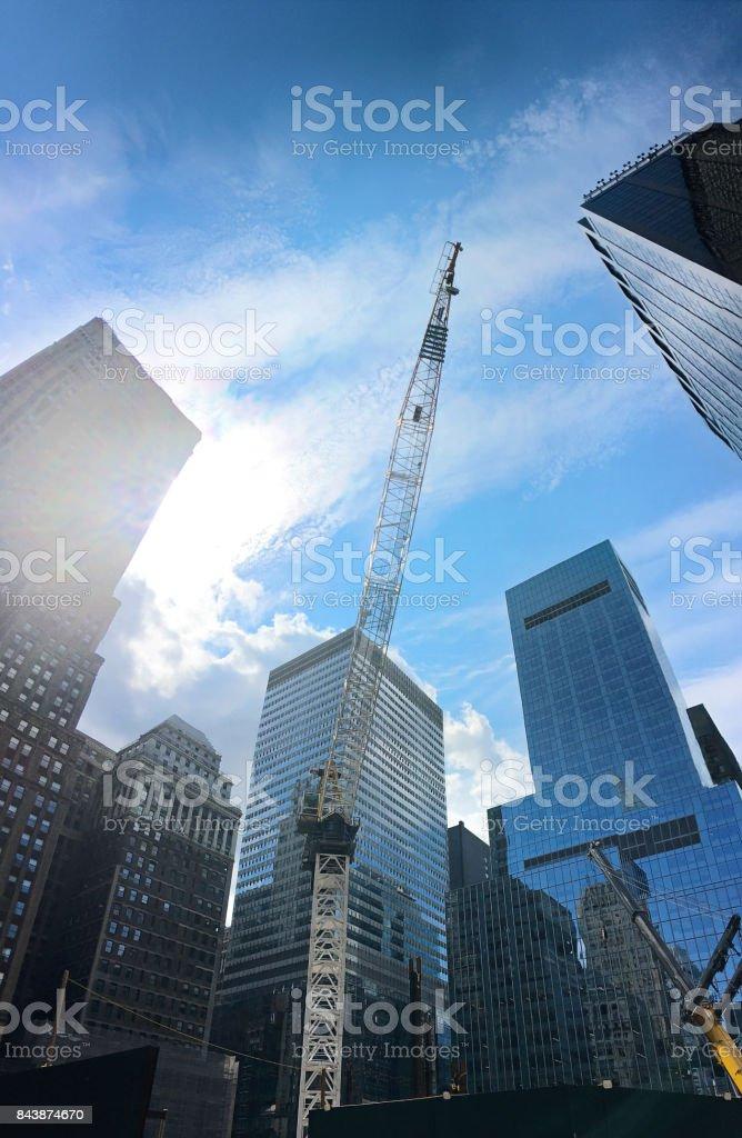 Mid-Town Manhattan NYC Skyscraper Site With Crane stock photo