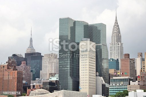 Midtown Manhattan skyline with many prominent office buildings. New York City landmarks.