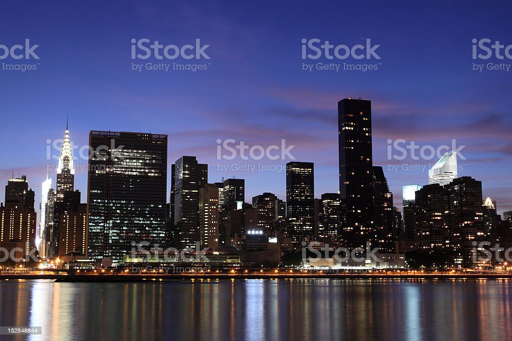 Midtown Manhattan skyline at late Sunset royalty-free stock photo