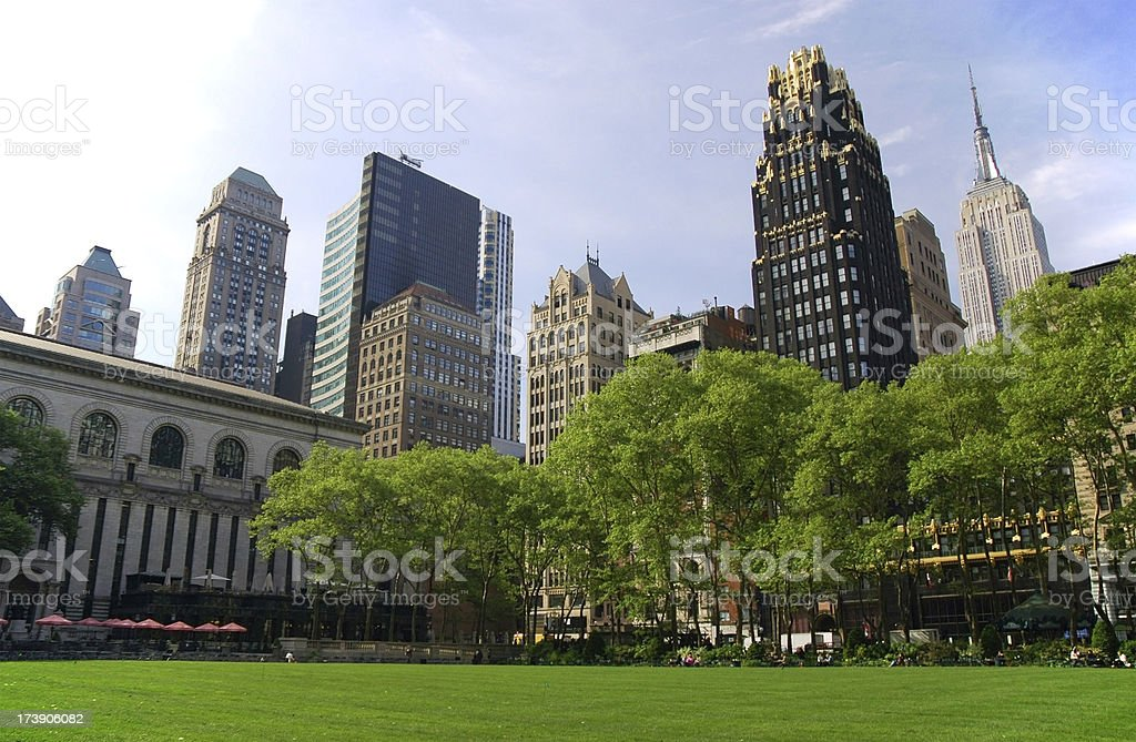 Midtown Manhattan skyscrapers and Bryant Park stock photo