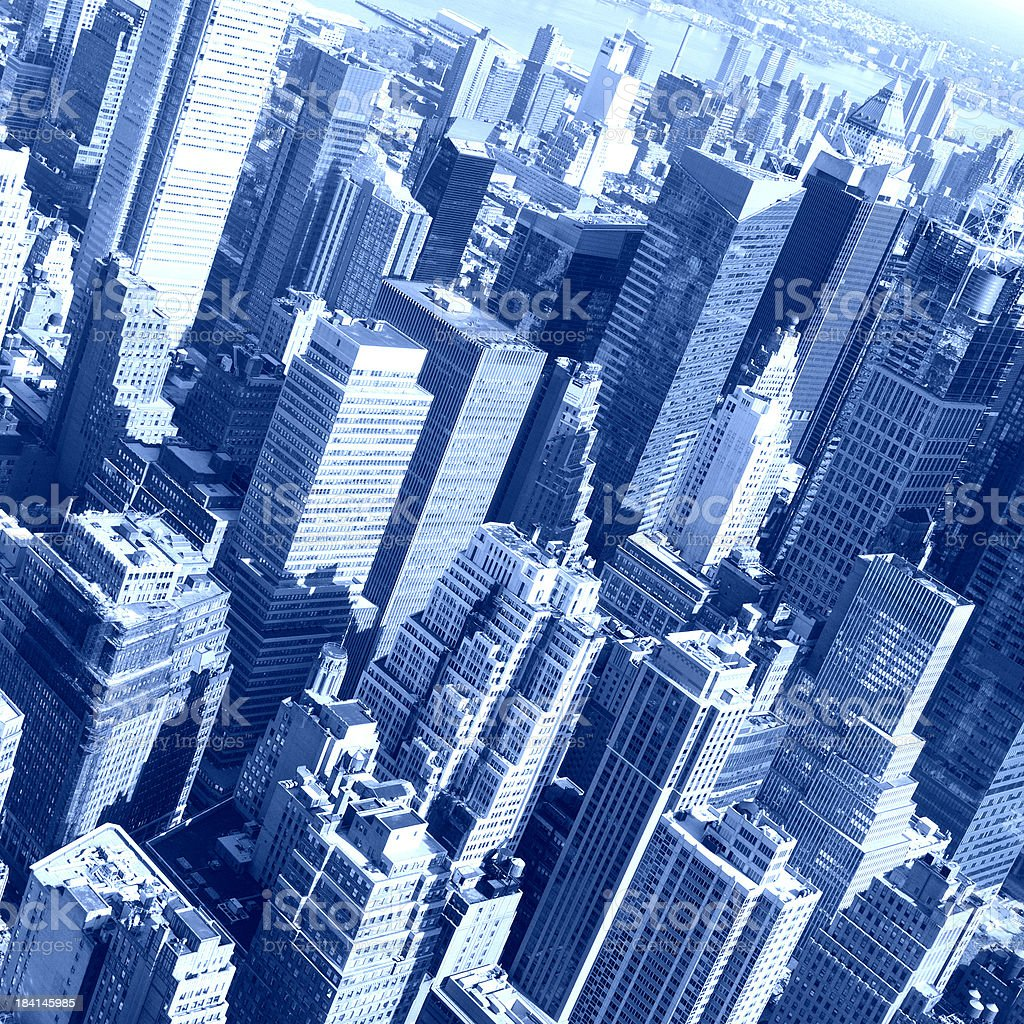 Midtown Manhattan,NYC.Aerial View.Blue Toned. royalty-free stock photo