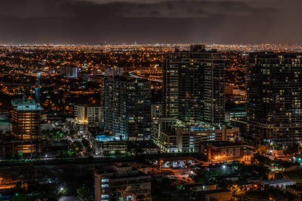 Midtown Miami Skyline at night stock photo