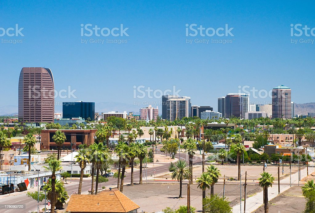 MIdtown Phoenix (Central Avenue Corridor) skyline and palm trees royalty-free stock photo