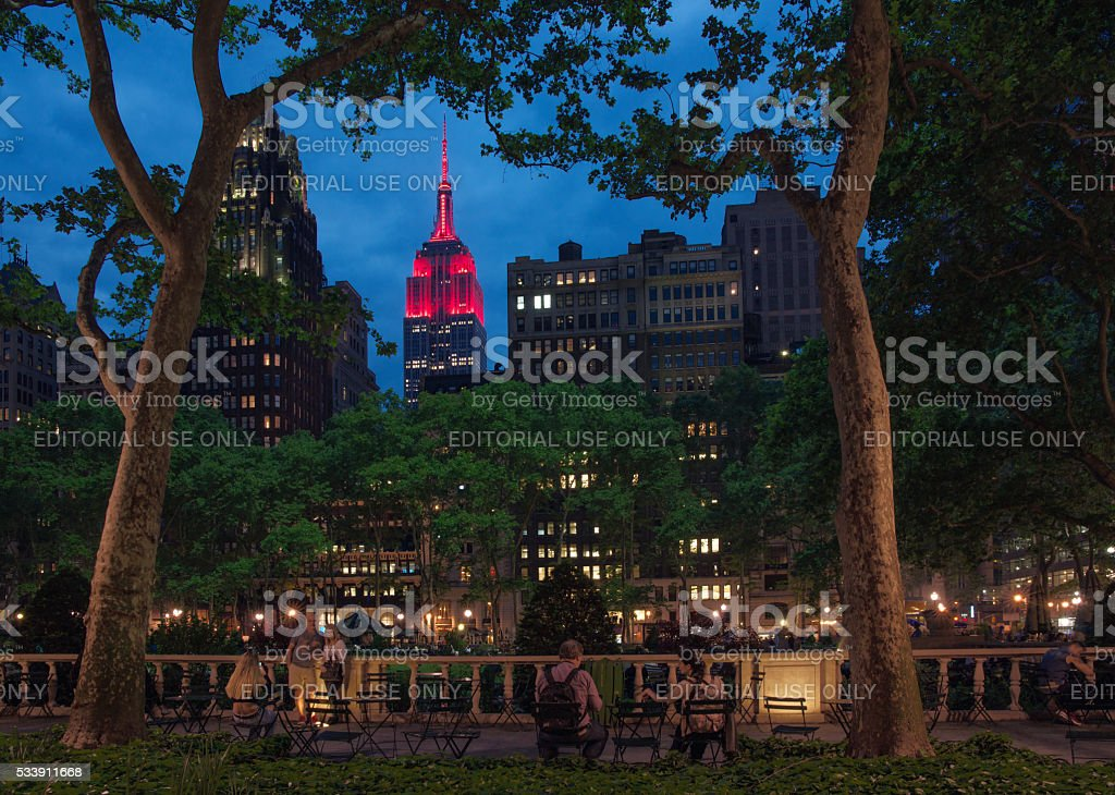 Midtown Skyline at Twilight with Empire State Building in Red stock photo
