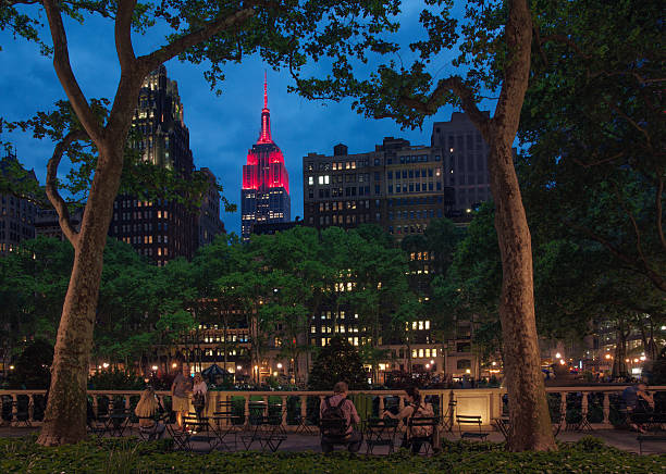 Midtown Skyline at Twilight with Empire State Building in Red
