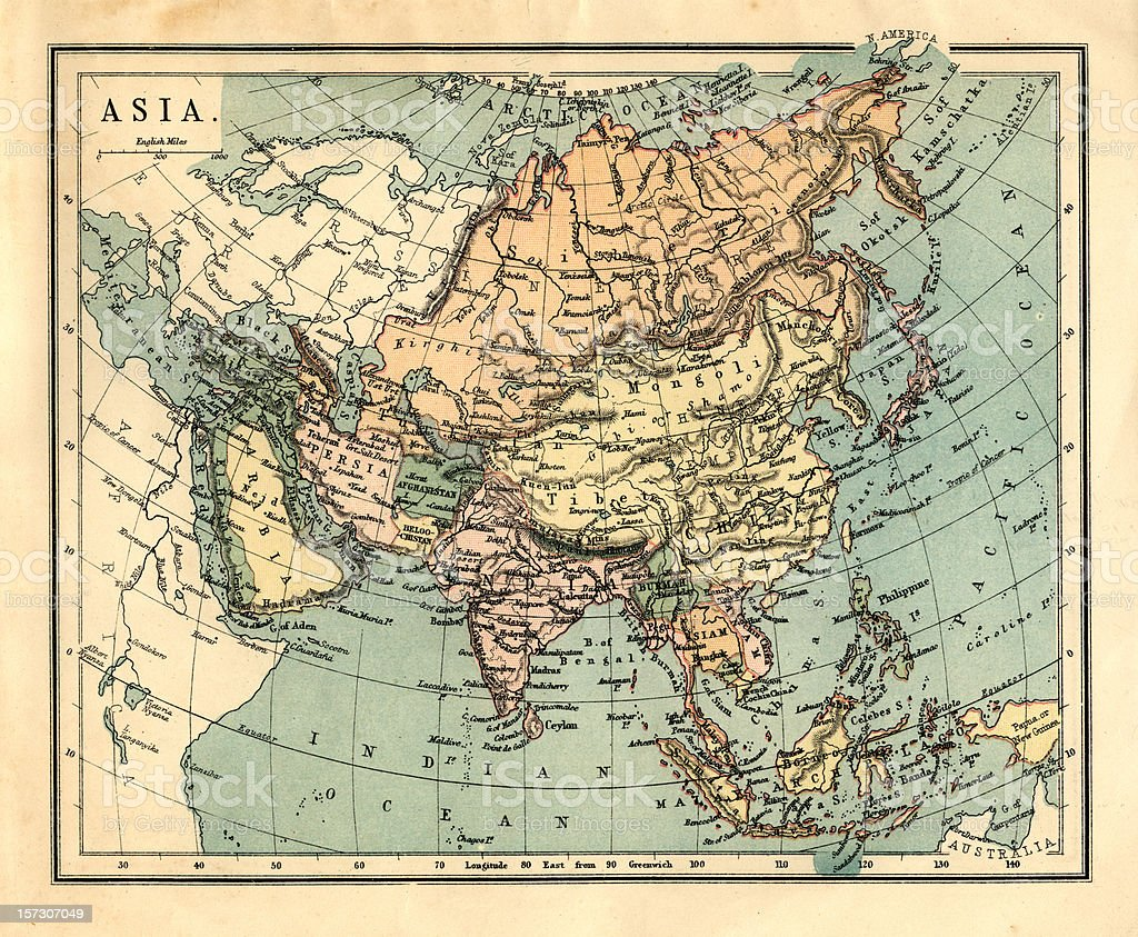 Mid-Victorian map of Asia stock photo