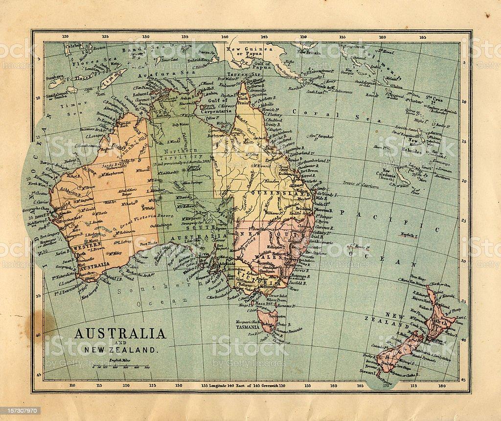 Mid-Victorian map of Australia stock photo
