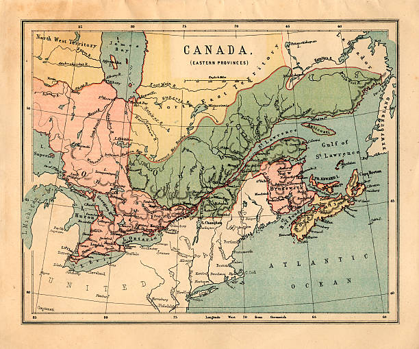 Map Of Canada Eastern Provinces.Midvictorian Map Of Canadian Eastern Provinces Stock Photo More