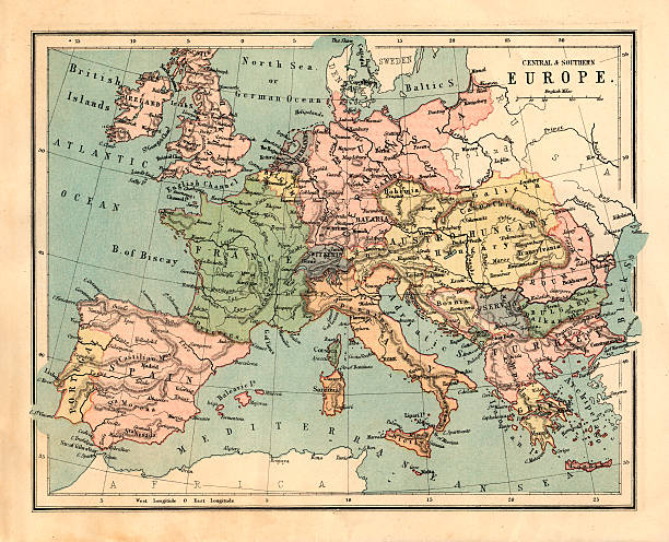 Mid-Victorian map of Central and Southern Europe stock photo