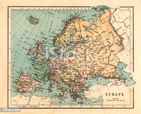 istock Mid-Victorian map of Europe 157307558