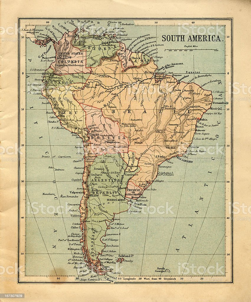 Mid-Victorian map of South America stock photo