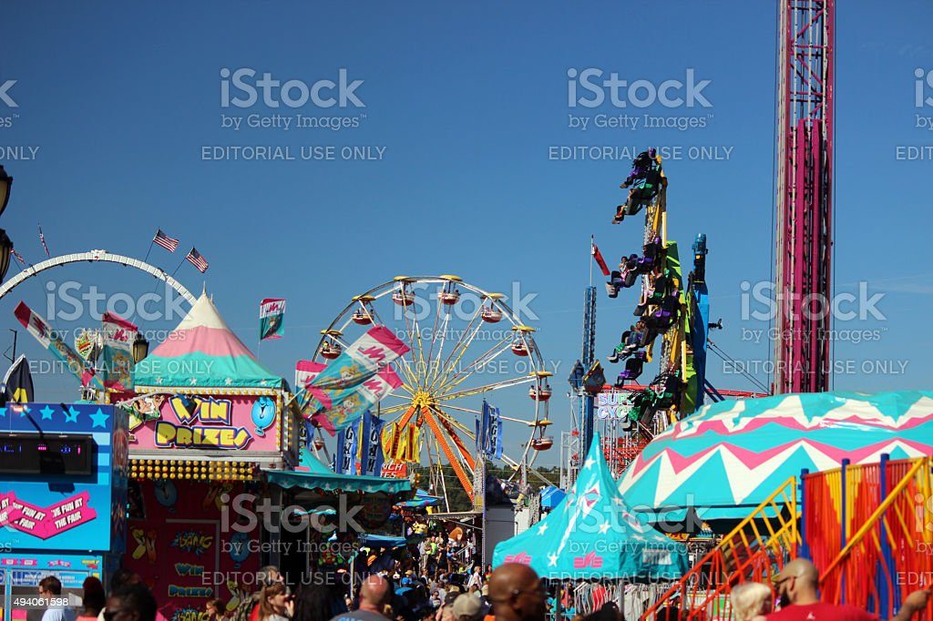 Midway Amusement Rides at the North Carolina State Fair stock photo