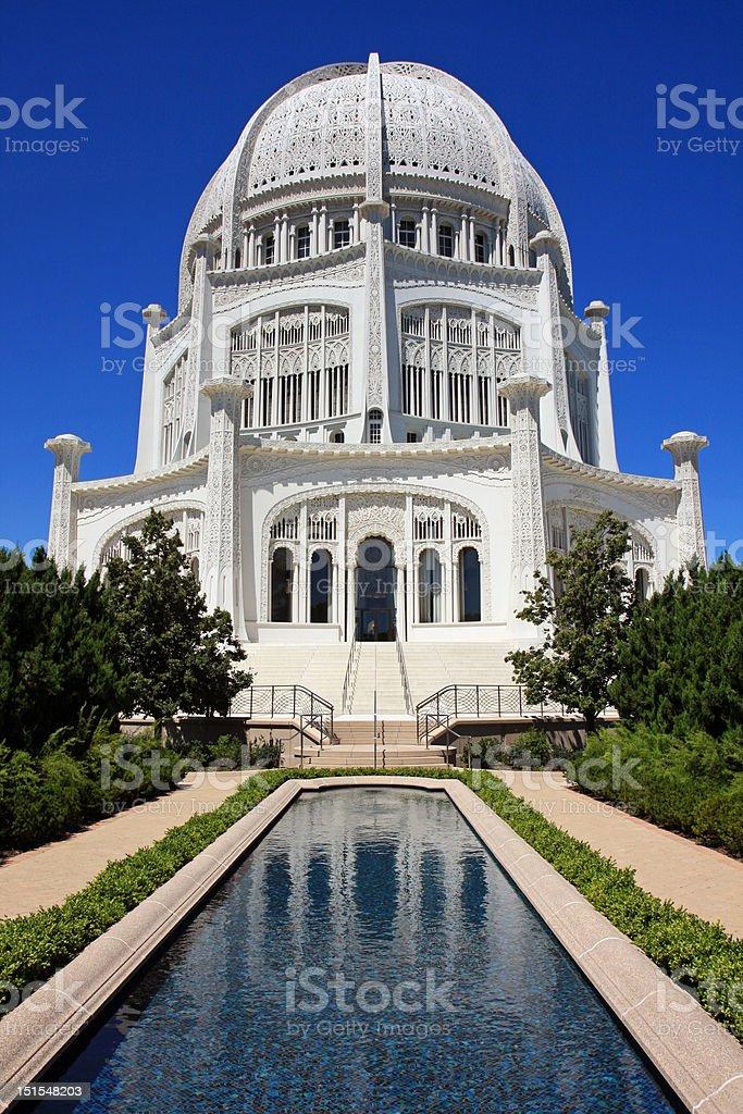 Midwest architectural wonder, Bahai Temple stock photo