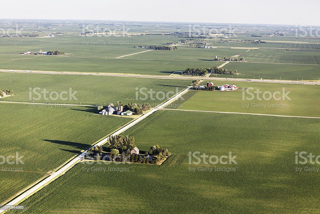 Midwest Farms and Farmland from Above stock photo