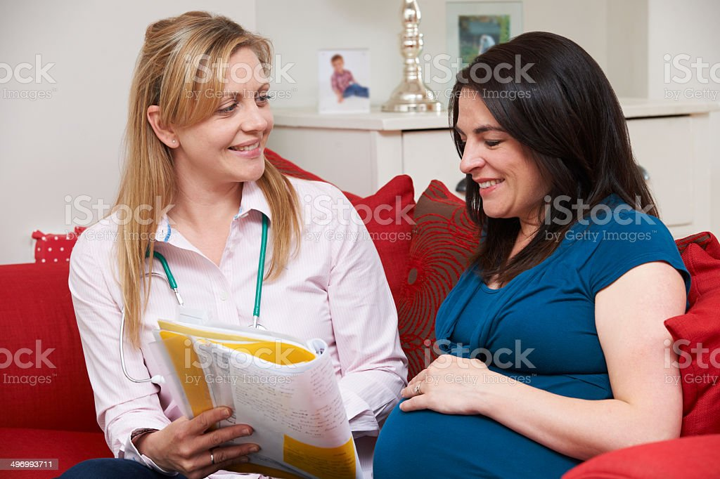 Midwife Discussing Medical Notes With Pregnant Woman stock photo