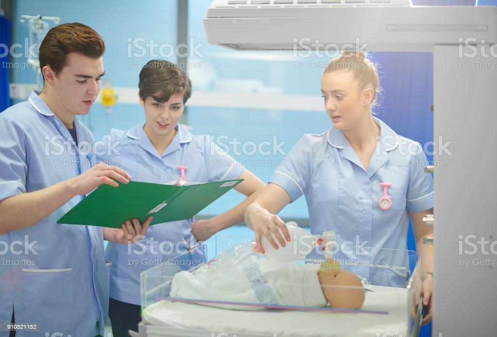 midwifery students stock photo