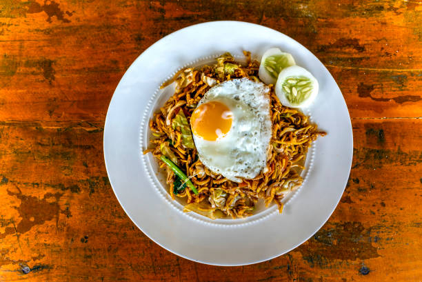 Mie goreng or fried noodles dish, Bira, Sulawesi, Indonesia stock photo