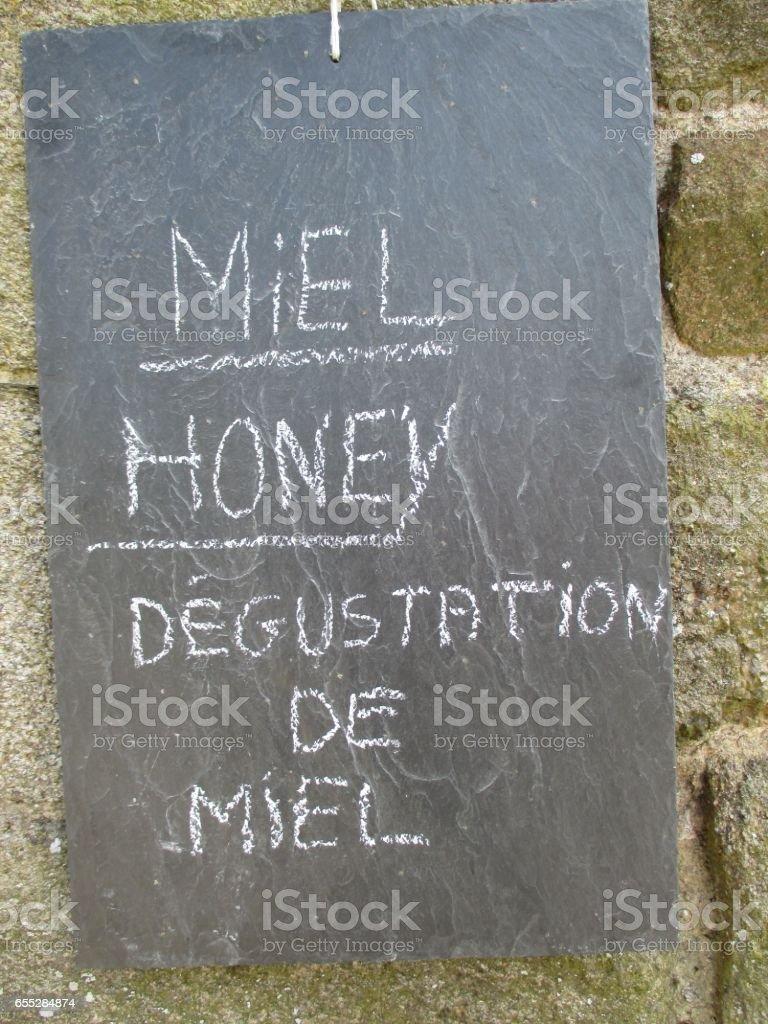 Miel - Commerce du miel - Dégustation - Ardoise stock photo