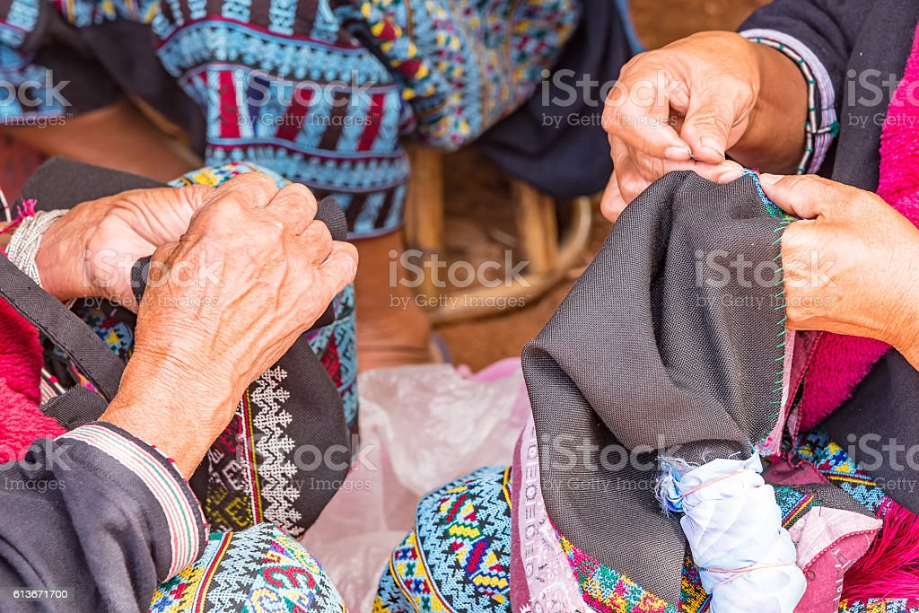 Mien hilltribe embroider pattern colored thread. stock photo