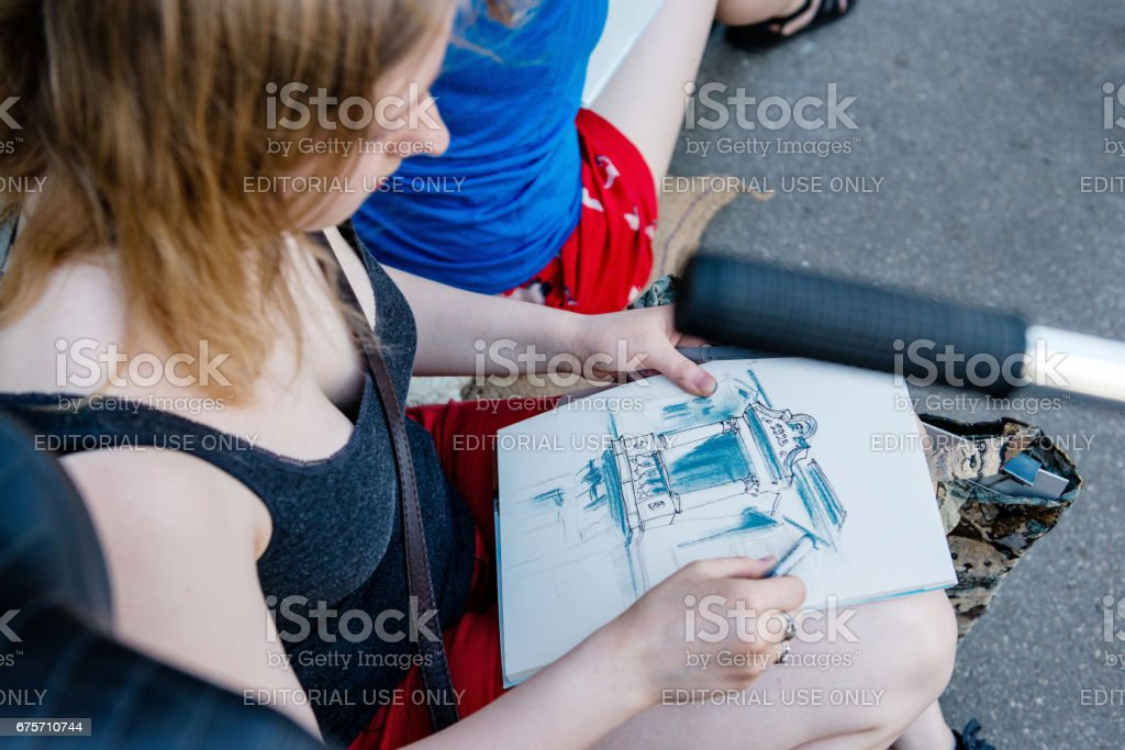 Miera street Pentecost. Street painter draws a picture. royalty-free stock photo