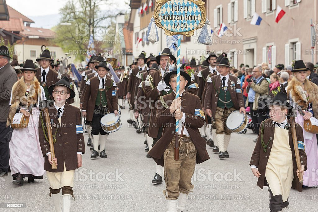 Miesbach,Germany – 05.04. 2014:Company of the mountain Bad Tölz royalty-free stock photo