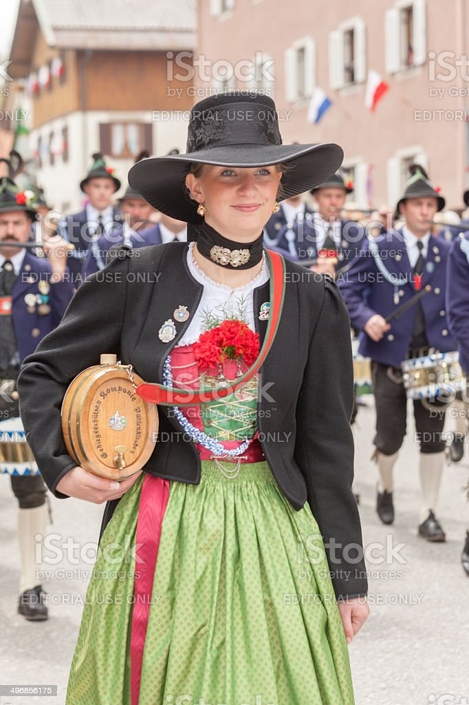 Miesbach,Germany – 05.04. 2014:young smiling Mark Eden provider in Dirndl royalty-free stock photo