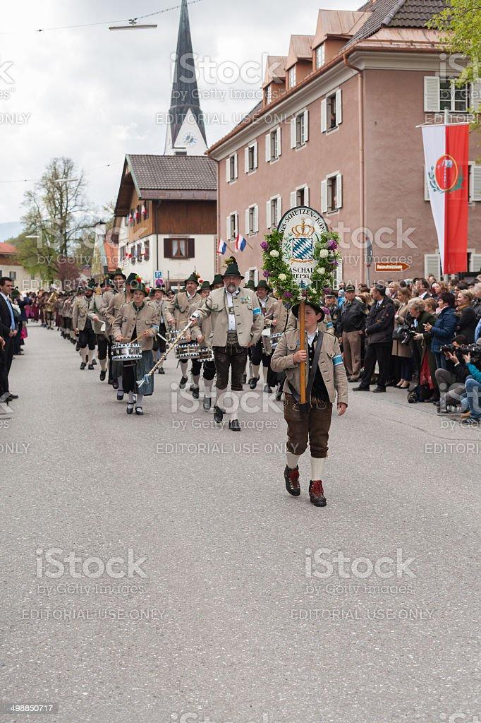 Miesbach,Germany – 05.04. 2014:Gebirgsschützenkompanie Aschau royalty-free stock photo