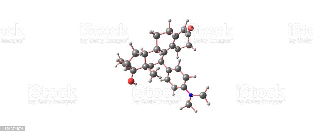 Mifepristone molecular structure isolated on white stock photo