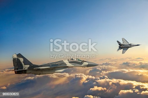 Mig-29 Fighter Jets in Flight over the clouds at sunset