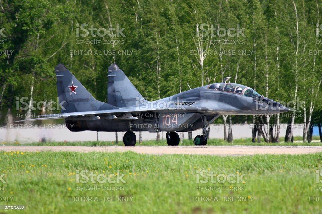 KUBINKA, MOSCOW REGION, RUSSIA - MAY 5, 2010: MiG-29UB of Russian Air Force at Kubinka air force base. stock photo