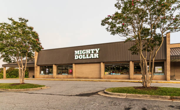 Mighty Dollar chain store in Mountain View, NC stock photo