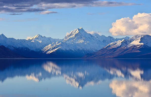 mighty mountain reflection - mountain range stock photos and pictures