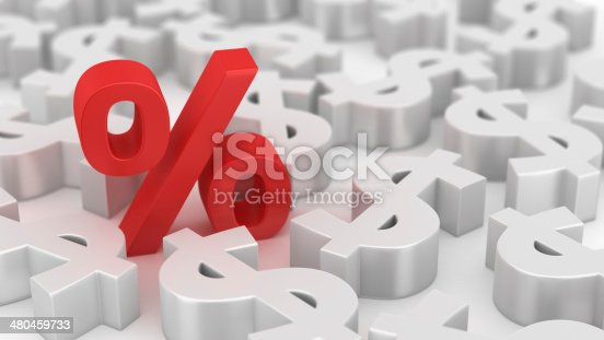 Single red percent symbol among many dollars