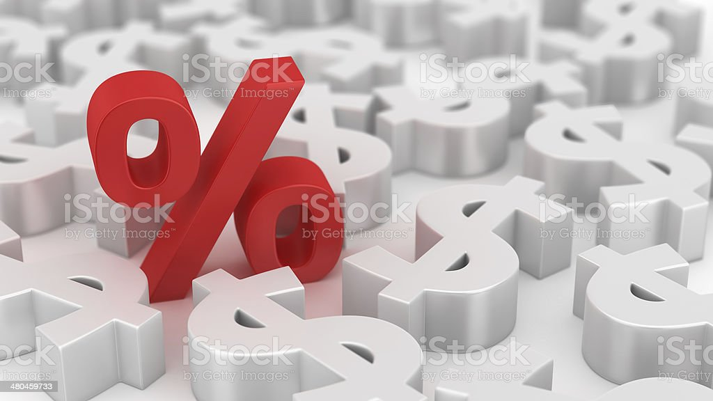 Mighty percent of dollars stock photo
