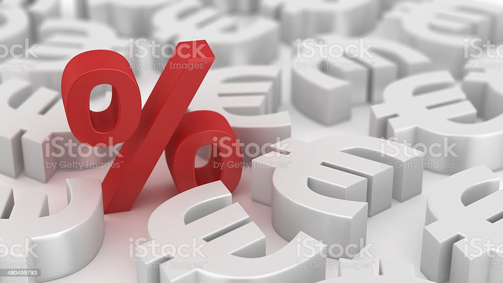 Mighty percent of euros stock photo