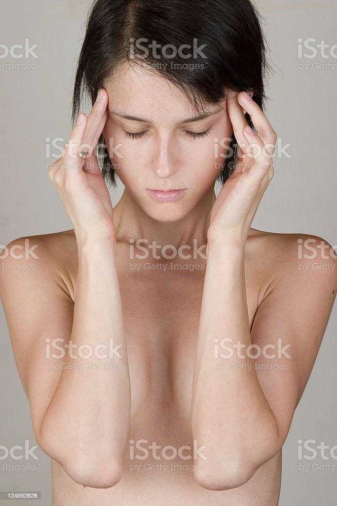 Migraine attack royalty-free stock photo