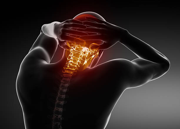 Migraine concept - HEADACHE Pain in cervical spine part janulla stock pictures, royalty-free photos & images